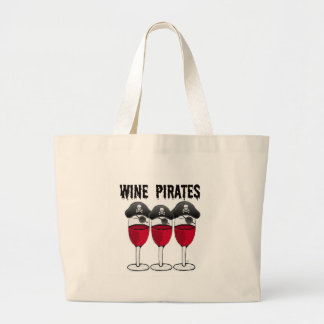 WINE PIRATES RED WINE GLASSES AND PIRATE PRINT LARGE TOTE BAG