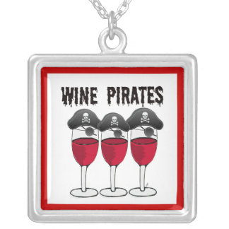 WINE PIRATES RED WINE GLASSES AND PIRATE PRINT SILVER PLATED NECKLACE