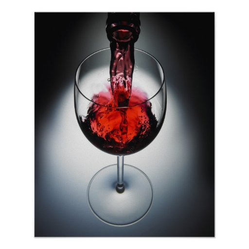 Wine poured in glass print