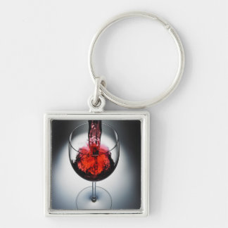 Wine poured in glass Silver-Colored square key ring