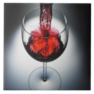 Wine poured in glass tile