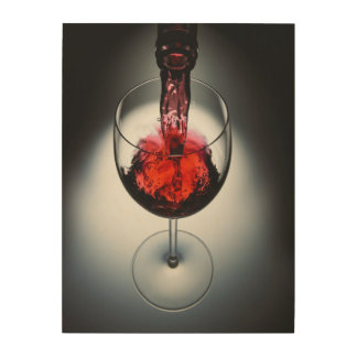 Wine poured in glass wood print