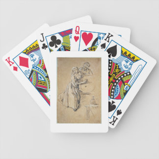 Wine-pourer with a Young Man (chalk) card Bicycle Playing Cards