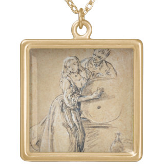 Wine-pourer with a Young Man (chalk) card Gold Plated Necklace