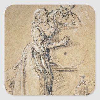 Wine-pourer with a Young Man (chalk) card Square Sticker