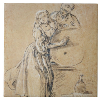 Wine-pourer with a Young Man (chalk) card Tile