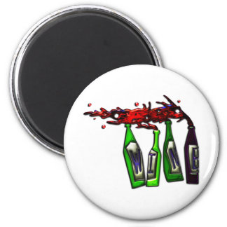 Wine Pouring from Bottles 6 Cm Round Magnet
