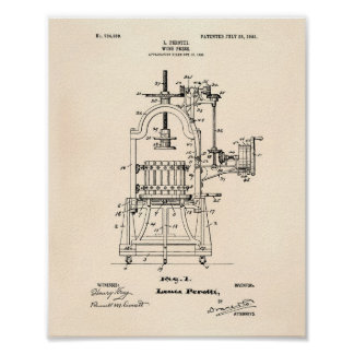 Wine Press 1903 Patent Art Old Peper Poster