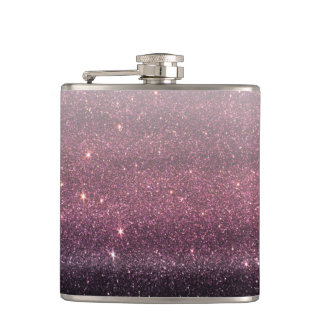 Wine Purple and Navy Blue Faux Glitter Gradient Flasks