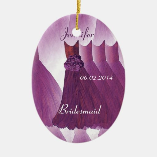 WINE PURPLE Bridesmaid Thank You Wedding Christmas Ornament