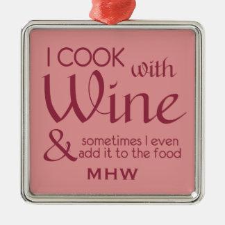 Wine Quote custom monogram ornament