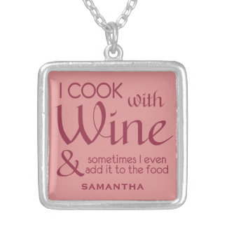 Wine Quote custom name necklace