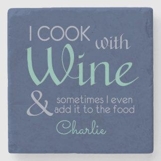 Wine Quote custom name stone coaster