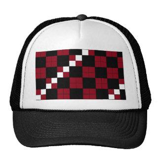 Wine Red and Black Checkerboard Classy Design Cap