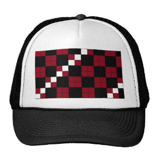 Wine Red and Black Checkerboard Classy Design Mesh Hats