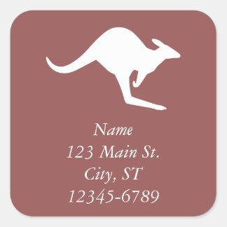 Wine Red and White Kangaroo Address Square Sticker