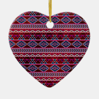 Wine Red Aztec Tribal Pattern Christmas Ornament