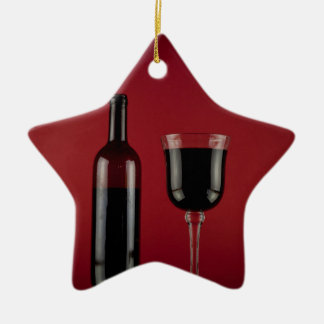 Wine red glass bottle ceramic star decoration