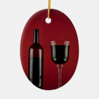 Wine red glass bottle christmas ornament