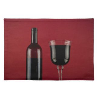 Wine red glass bottle placemat