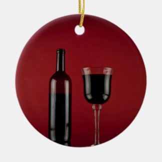 Wine red glass bottle round ceramic decoration