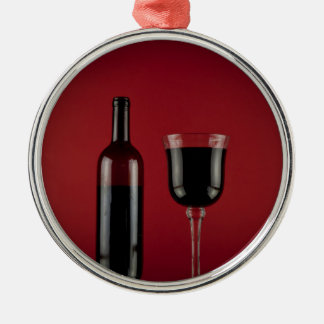 Wine red glass bottle Silver-Colored round decoration