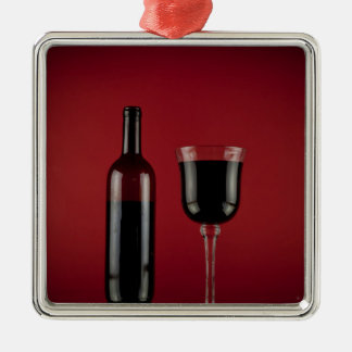 Wine red glass bottle Silver-Colored square decoration