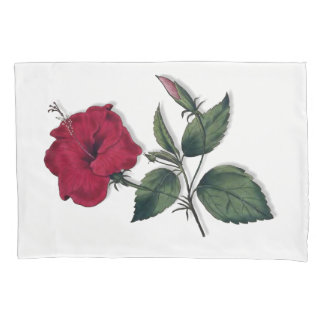 Wine Red Single Hibiscus Flower Pillowcase