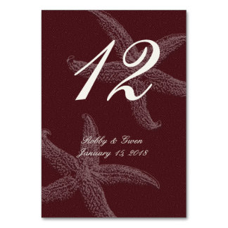 Wine Red Vertical Starfish Table Number Cards