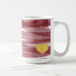 Wine Red Watercolor Couple's Coffee Mug