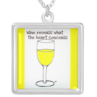 WINE REVEALS WHAT THE HEART CONCEALS WHITE WINE SQUARE PENDANT NECKLACE