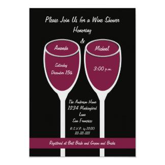 Wine Shower or Bridal Shower Invitation, Red Wine 13 Cm X 18 Cm Invitation Card