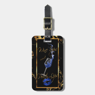 Wine Sips and Pouty Blue Lips - Marble Luggage Tag