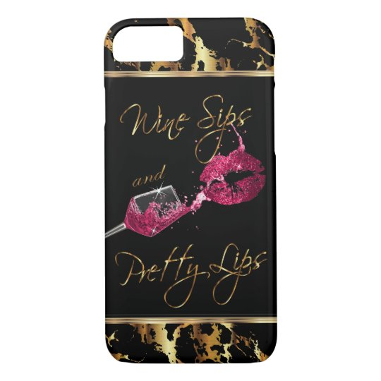 Wine Sips and Pretty Lips - Pink iPhone 8/7 Case
