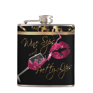 Wine Sips and Pretty Pink Lips Hip Flask