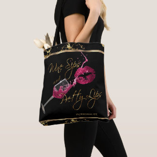 Wine Sips and Pretty Pink Lips - Marble Tote Bag