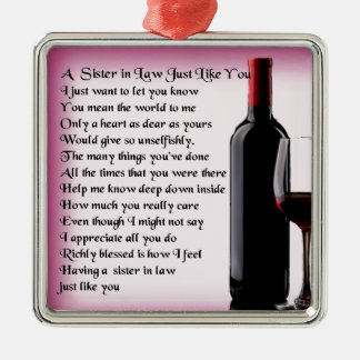 Wine   Sister in Law  Poem Christmas Ornament