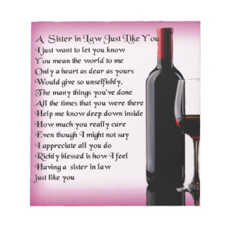 Wine   Sister in Law  Poem Notepad