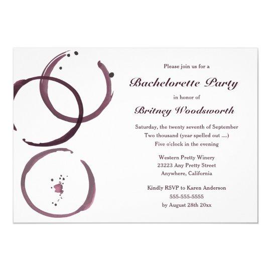 Wine Stain Vineyard Bachelorette Party Invitations