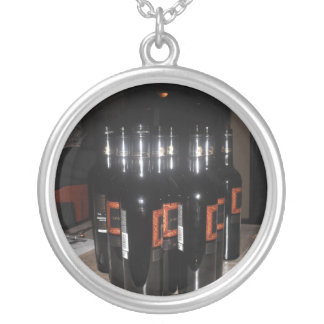 Wine Stock Round Pendant Necklace