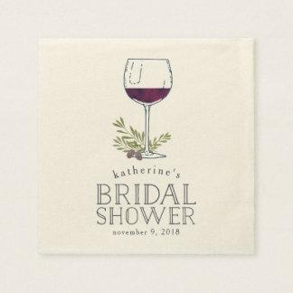 Wine Tasting Bridal Shower Disposable Serviettes