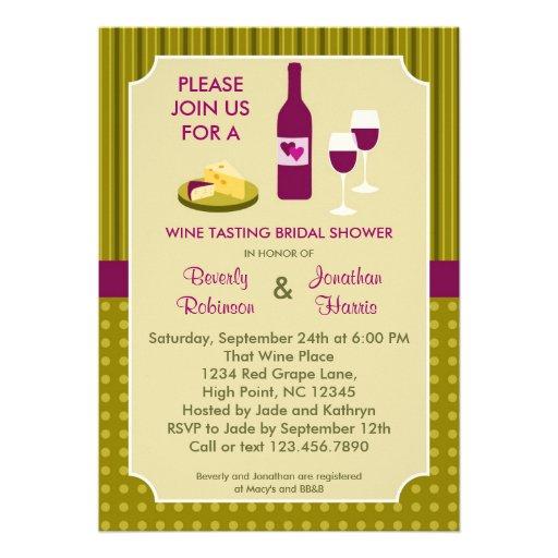 Wine Tasting Couple's Bridal Shower Invitation 13 Cm X 18 Cm Invitation Card | Zazzle