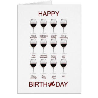 Wine tasting funny birthday card