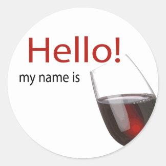 Wine tasting hello name tag