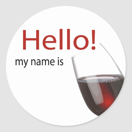 Wine tasting hello name tag round stickers
