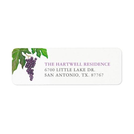 Wine Tasting Party Grapes Return Address