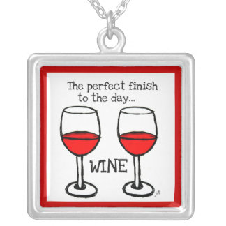 """WINE: THE """"PERFECT FINISH TO THE DAY"""" SQUARE PENDANT NECKLACE"""