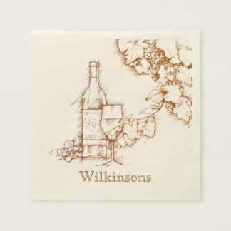 Wine Themed Drawing Paper Napkins