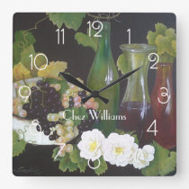 Wine themed Personalised Square Wall Clock