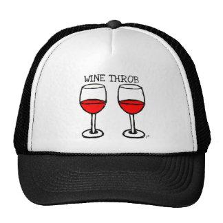 """""""WINE THROB"""" FUN RED WINE PRINT TRUCKER HATS"""